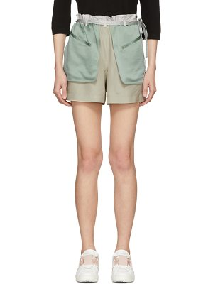 Valentino and Green Silk Hammered Shorts