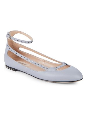 Valentino Ankle-Strap Leather Ballet Flats