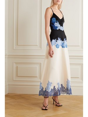 Valentino appliquéd sequin-embellished wool and silk-blend crepe gown