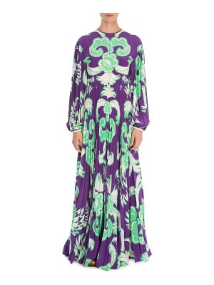 Valentino Arras Long-Sleeve Plisse Crepe de Chine Gown