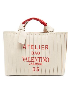 Valentino atelier 05 logo-print canvas and leather tote bag