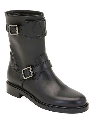 Valentino Biker Smooth Two-Buckle Boots