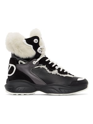 Valentino black and white  garavani vlogo high-top sneakers