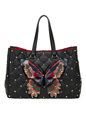 Valentino Boomstud Butterfly Leather/Snakeskin Tote Bag