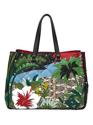 Valentino Boomstud Tropical Leather & Snakeskin Tote Bag