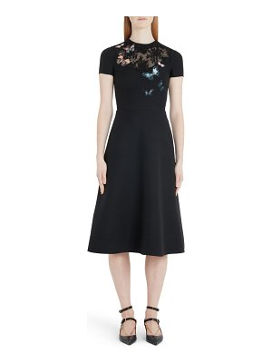 Valentino butterfly embroidered lace panel midi dress