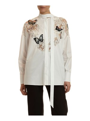 Valentino Butterfly Lace-Inset Button-Front Shirt