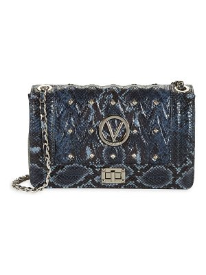 Valentino by Mario Valentino Alice Studded Python-Embossed Leather Shoulder Bag