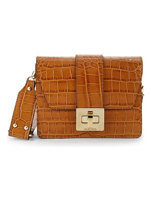 Valentino by Mario Valentino Crocodile Embossed Leather Shoulder Bag