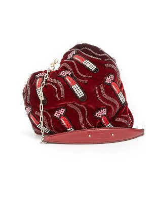 Valentino carry secrets bead embellished heart velvet clutch