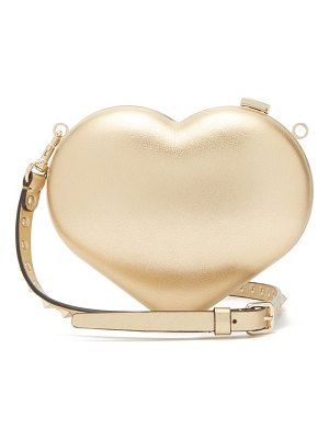 Valentino carry secrets metallic leather heart clutch