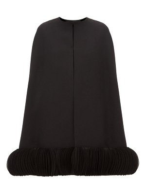 Valentino chiffon trimmed wool blend crepe cape