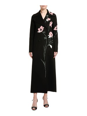 Valentino Compact Wool-Cashmere Floral Embroidered Coat