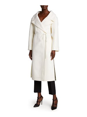 Valentino Compact Wool-Cashmere Wrap Coat w/ Leather Ties