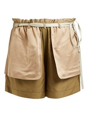 Valentino Contrast-pocket elasticated-waist silk shorts