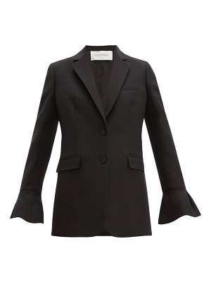 Valentino crepe couture fluted-sleeve wool-blend jacket