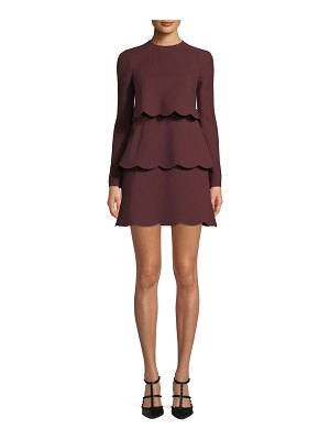 Valentino Crepe Couture Long-Sleeve Scallop Tiered Dress