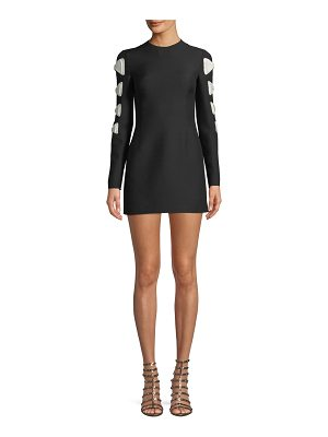 Valentino Crewneck Long-Sleeve Fitted Dress w/ Bow Detail