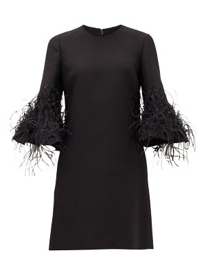 Valentino cropped-sleeve feather-trimmed wool-blend dress