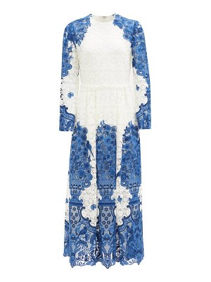 Valentino delf-print guipure-lace cotton-blend midi dress
