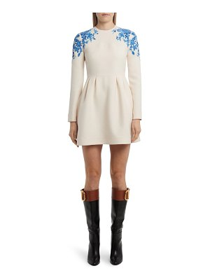 Valentino delft floral embroidered long sleeve fit & flare minidress
