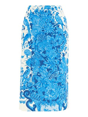 Valentino delft-print crepe couture wool-blend skirt