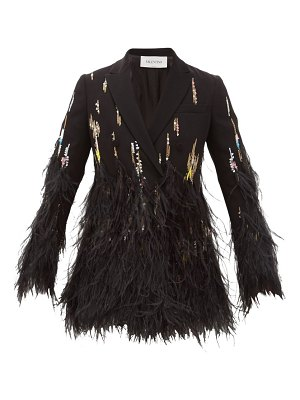 Valentino double-breasted feather-trimmed crepe jacket
