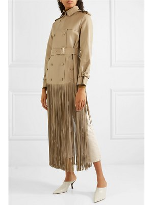Valentino double-breasted fringed leather trench coat