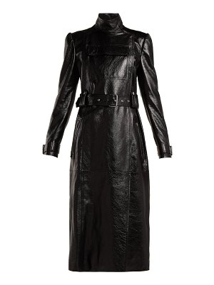 Valentino dragon embroidered double breasted leather coat