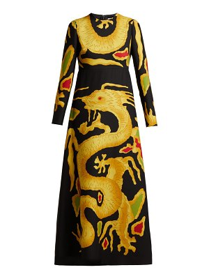 Valentino Dragon-print virgin wool-blend crepe gown