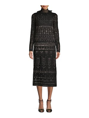 Valentino Embroidered Long-Sleeve Dress