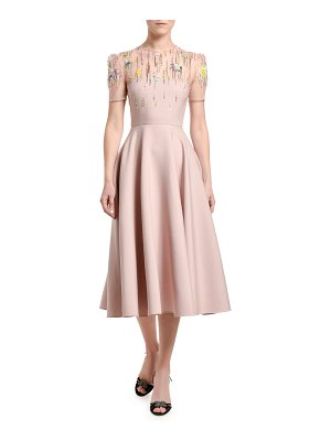 Valentino Embroidered Wool-Silk Dress