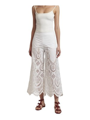 Valentino Eyelet Cropped Culotte Pants