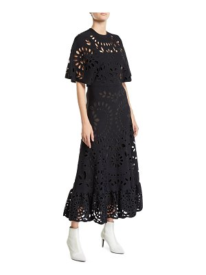 Valentino Eyelet Embroidered Short-Sleeve Ankle-Length Dress