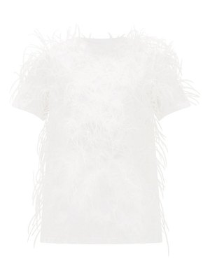 Valentino feather-embellished cotton t-shirt