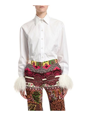 Valentino Feather-Sleeve Button-Front Shirt