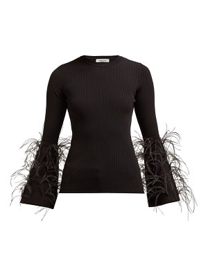 Valentino feather trimmed ribbed knit stretch jersey top