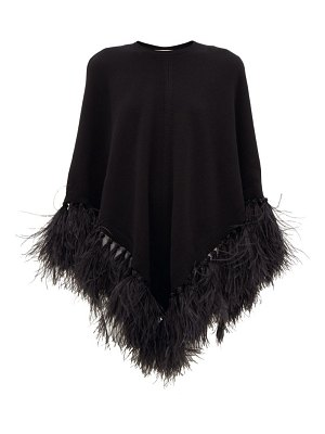 Valentino feather-trimmed wool-blend poncho