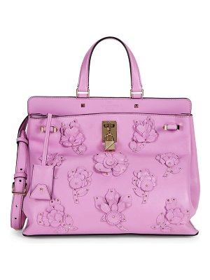 Valentino Floral Embellished Leather Top Handle Bag