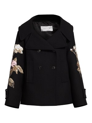 Valentino floral embroidered double breasted wool peacoat
