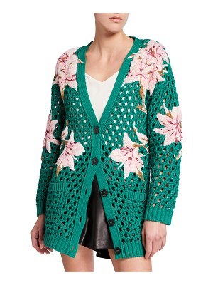 Valentino Floral-Embroidered Open-Knit Cardigan