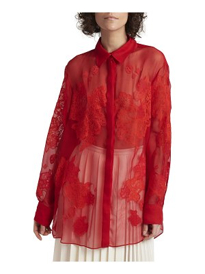 Valentino Floral-Lace Embroidered Silk Shirt