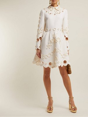 Valentino floral piping embellished crepe midi dress
