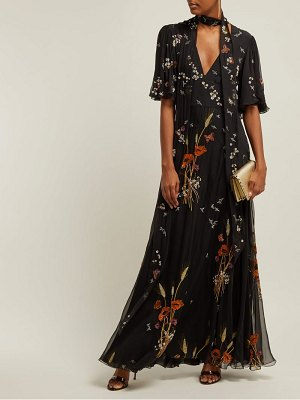 Valentino floral sequin embellished silk chiffon gown