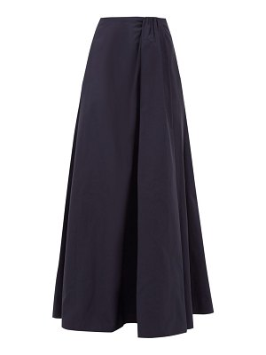 Valentino gathered-waist cotton-blend faille skirt