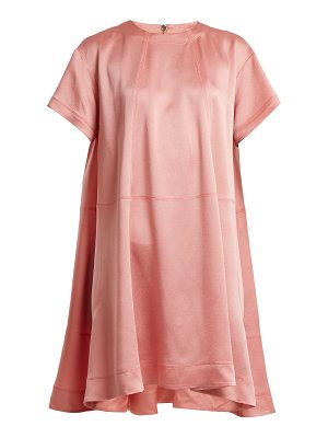 Valentino Hammered-satin short-sleeve dress