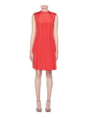 Valentino High-Neck Sleeveless Pleated-Bottom Short Dress w/ Contrast Topstitching