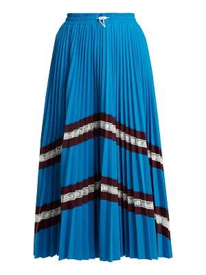 Valentino High-rise chevron-striped pleated jersey skirt