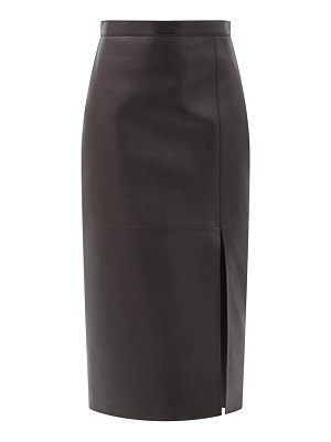 Valentino high-rise leather pencil skirt
