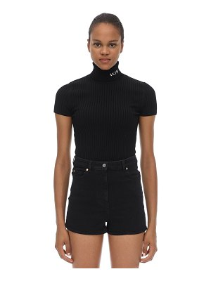 Valentino Intarsia viscose knit turtleneck top